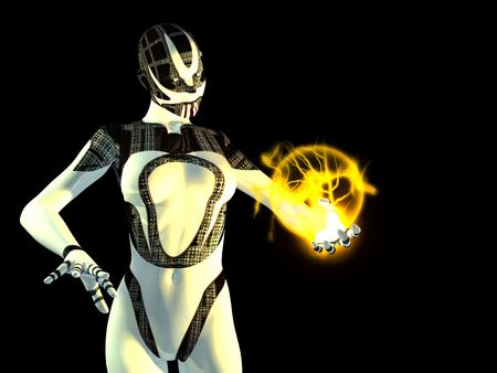 female cyborg with energy charge