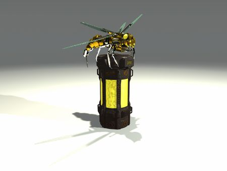 atop: robot wasp sits atop a container filled with chemicals