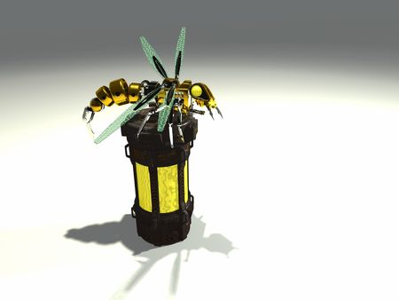 robot wasp sits atop a container filled with chemicals Stock Photo - 5074192