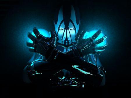 cyborg femme tenant en place deux charges d'énergie