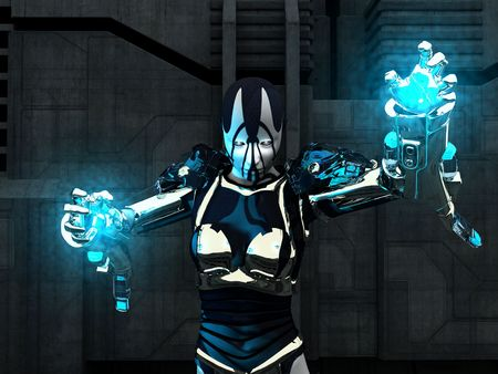 cyborg holding up energy balls Banco de Imagens