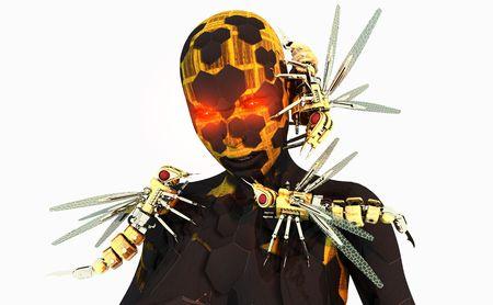Ad alta risoluzione cyborg personaggio con i servitori meccanici vespa Archivio Fotografico - 5407902