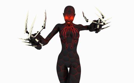 Carattere di cyborg Black widow Archivio Fotografico - 5407899