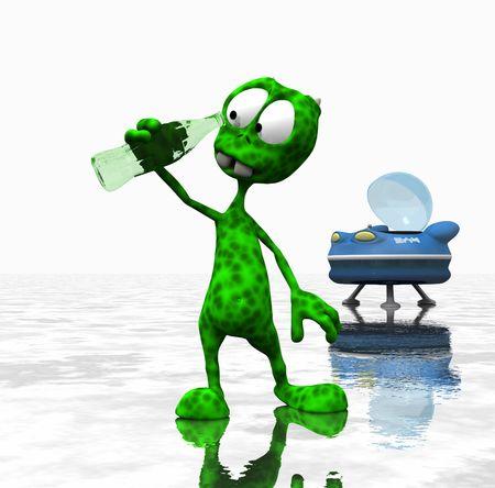 cartoon alien looking down bottle photo