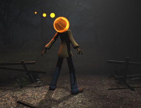 3d render of pumpkin man halloween character Stok Fotoğraf