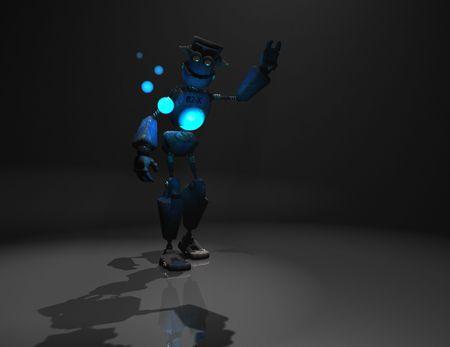 3d render of robot in the dark photo