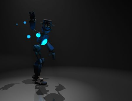 3d render of robot in the dark photo