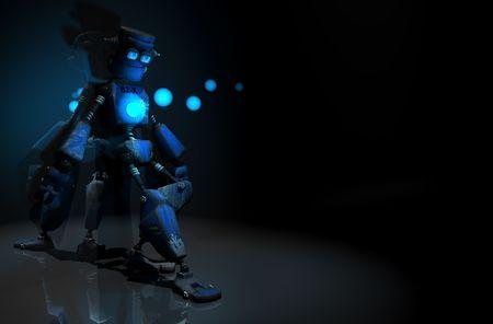 3d render of robot in the dark Stock Photo - 5520499