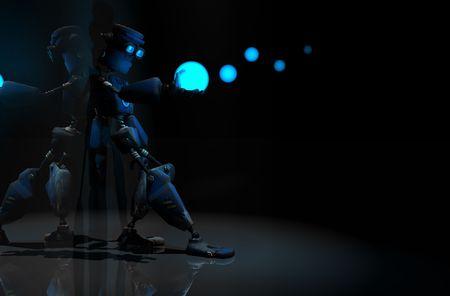 3d render of robot in the dark Stock Photo - 5520524