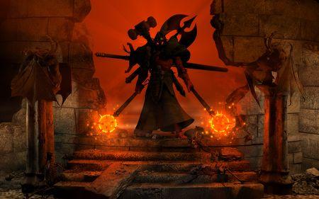 satanas: de alta resoluci�n en 3D altamente detallado ilustraci�n de la posici�n de un poderoso car�cter b�rbaro entre las antiguas ruinas la celebraci�n de dos mazas de estrella de la ma�ana Foto de archivo