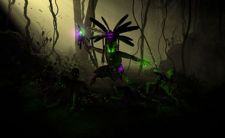 high resolution highly detailed 3d illustration of a witch doctor summoning undead zombies and casting poison insect spell. Фото со стока - 5622474