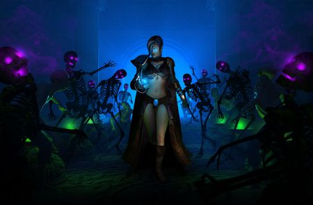 evoke: high resolution highly detailed 3d illustration of wizard woman walking amongst undead skeletons and zombies holding a spell with a smirk on her face.