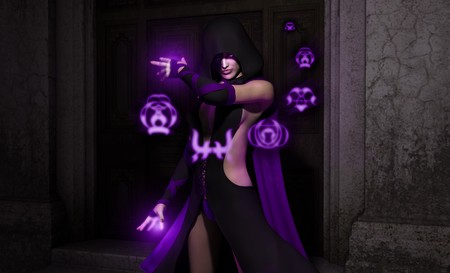 render: necromancer cast magic glyphs Stock Photo