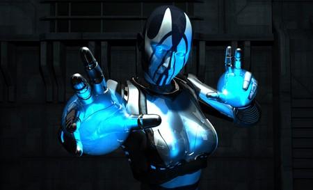 rendering: cyborg charging up energy