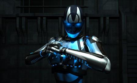 rendering: cyborg holding fist 3 Stock Photo