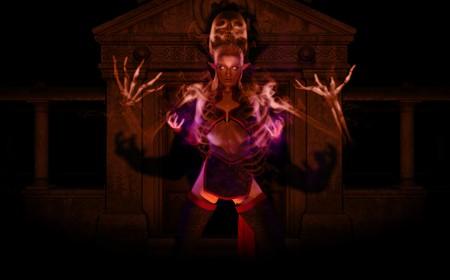 necromancer: Necromancer woman summons undead spirit