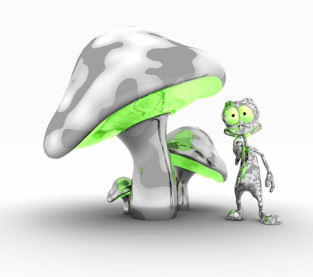 alloy: alien and metal mushrooms Stock Photo