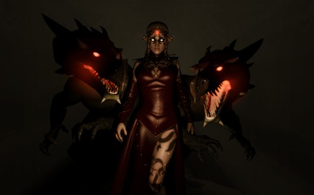quality 3d illustration of a elven sorceress covered in tattoos standing between her two dragon minions