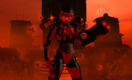 detailed 3d illustration of a futuristic high-tech warrior equipped with Gatling guns and a arm cannon, repair drones hover near by. illustration
