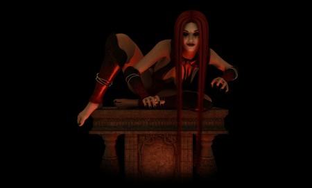 Vampire vrouw gehurkt op alter