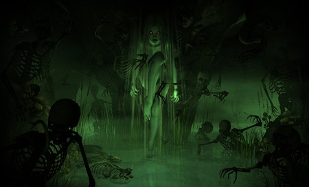 swamps: 3d illustration of a swamp witch surrounded by undead minions Stock Photo