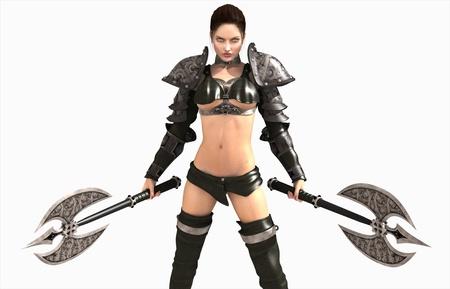 3D Abbildung einer barbarischen-Frau