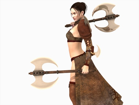 warriors: warrior woman wielding two axes isolated on white