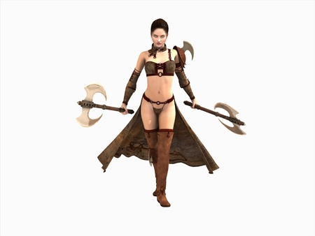 warrior woman wielding two axes isolated on white
