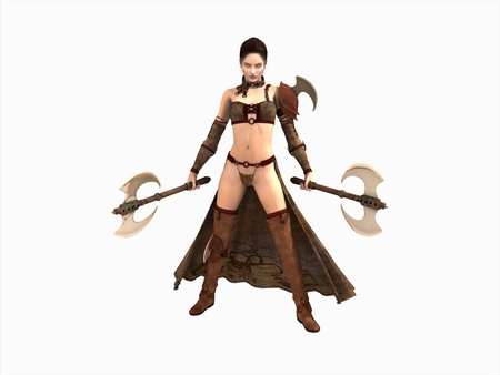 fantasy: warrior woman wielding two axes isolated on white
