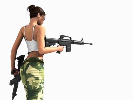 woman with gun: female soldier