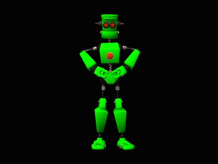automaton: Cute little green robot Stock Photo