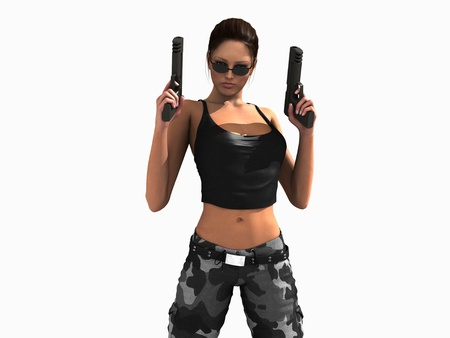 3d illustration of a soldier girl holding two guns Banco de Imagens