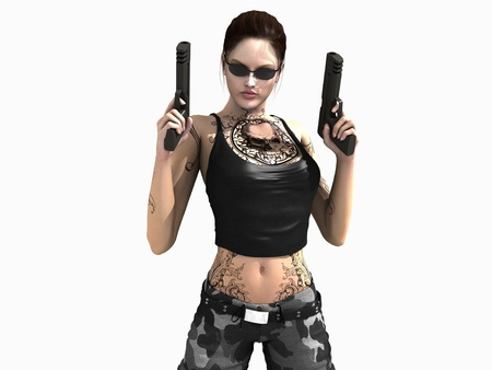 3d illustration of a soldier girl holding two guns Stock fotó - 8689510