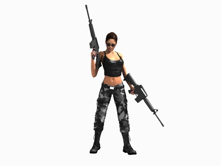 sexy army: 3d illustration of a soldier girl holding two guns Stock Photo