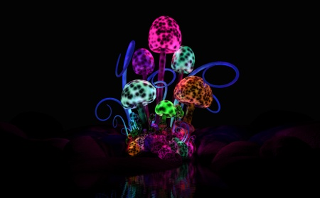 bioluminescent: Quality 3d illustration of a colorful magical mushroom cluster