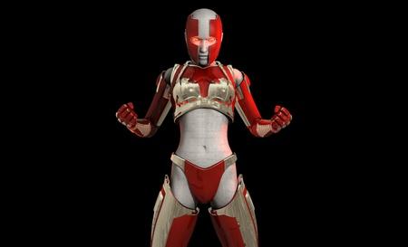Futuristic cyborg soldier photo