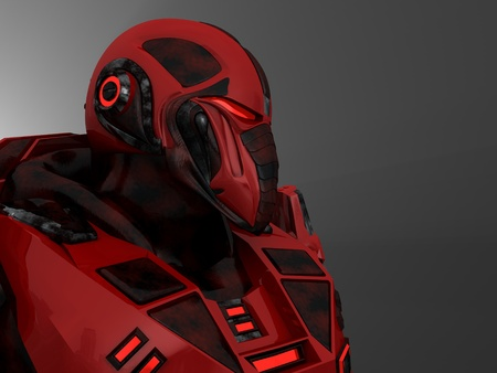 human face: Future soldier in advanced armor