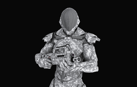 Advanced super soldier Stock Photo