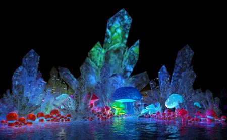 magische kristallen en champignons Stockfoto