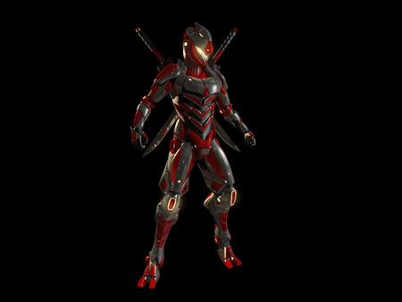 chrome man: Advanced super soldier Stock Photo