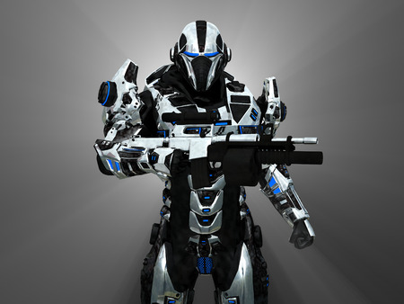 scifi: Advanced super soldier Stock Photo