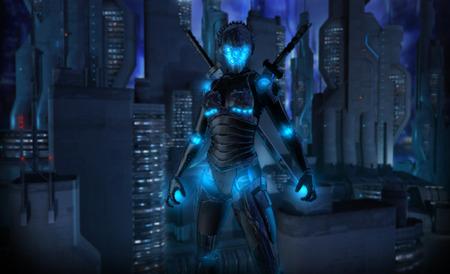 Female cyborg character Stock Photo