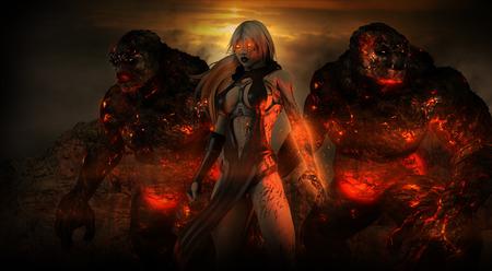 Vrouwelijke tovenaar met twee troll beesten Stockfoto