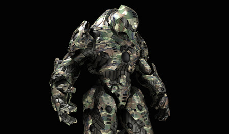 cyber warfare: Futuristic war machine Stock Photo