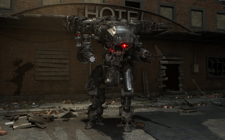 robot: futuristic robot mech