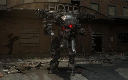 robot: mech robot futurista Foto de archivo