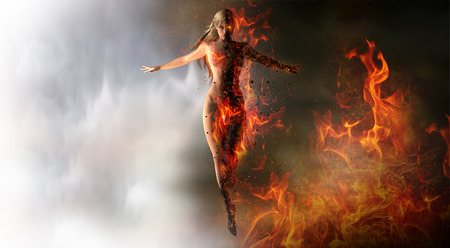 evil: Magical woman summoning fire Stock Photo