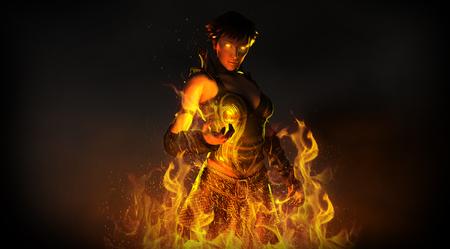 summoning: Wizard woman summoning fire