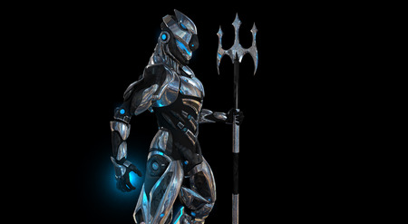 robot with shield: Futuristic super soldier Stock Photo