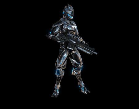mech: Futuristic super soldier Stock Photo